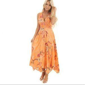 Orange Floral Hanky Hem Midi Dress